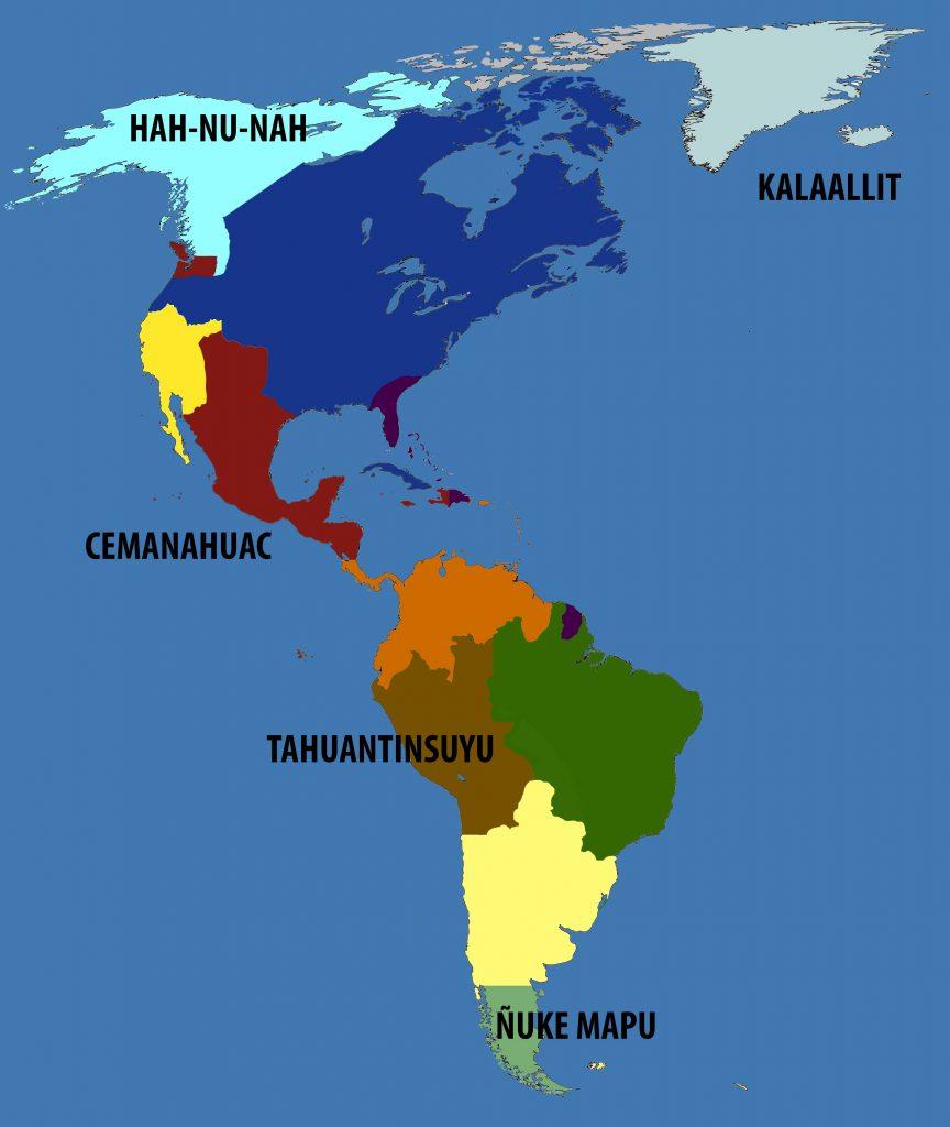 Mapa ucronía náhuatl siglo XXI